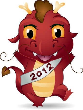 Illustration of a Dragon Representing the New Year Stock Illustration - 11860839