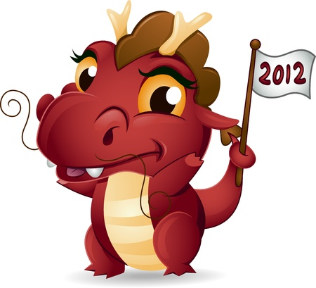 Illustration of a Dragon Holding a New Year Flag illustration