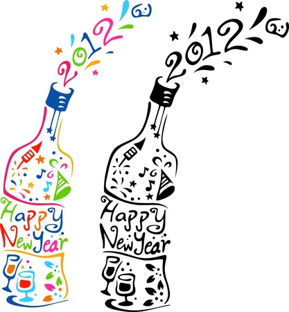 Illustration of Bottles Decorated with New Year Elements illustration