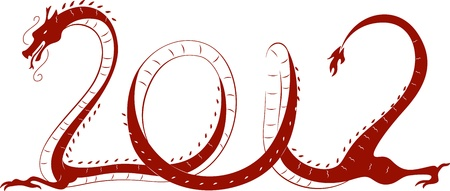 Illustration of a Dragon Representing the Year 2012 Stock Photo