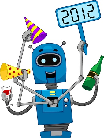 Illustration of a Robot Celebrating the New Year illustration