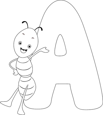 Coloring Page Illustration Featuring an Ant Stock Illustration - 11860782