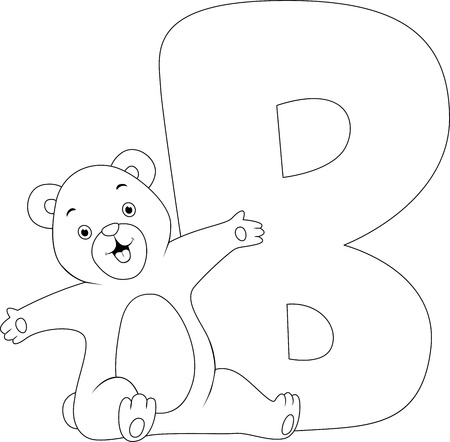 featuring: Coloring Page Illustration Featuring a Bear Stock Photo