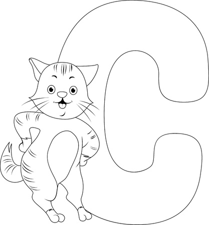 cat alphabet: Coloring Page Illustration Featuring a Cat