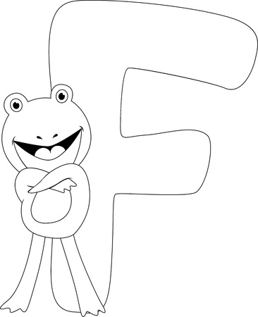 Coloring Page Illustration Featuring a Frog Stock Illustration - 11860775