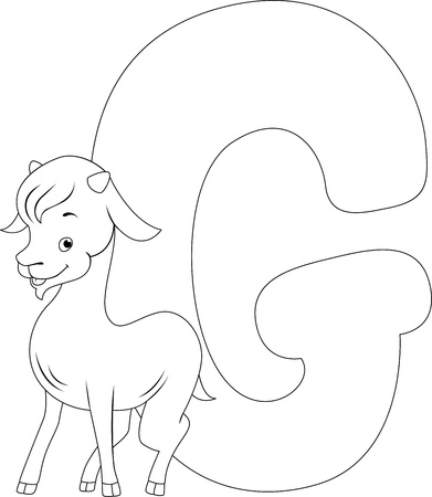 Coloring Page Illustration Featuring a Goat illustration