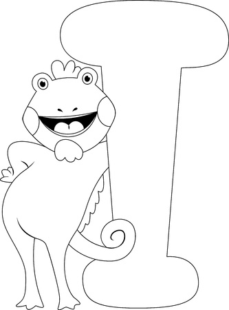 Coloring Page Illustration Featuring an Iguana Stock Illustration - 11860776