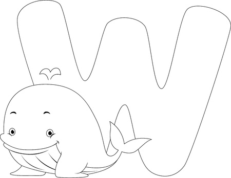 Coloring Page Illustration Featuring a Whale illustration
