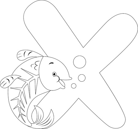 Coloring Page Illustration Featuring An X Ray Fish
