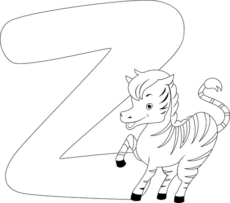 Coloring Page Illustration Featuring a Zebra illustration