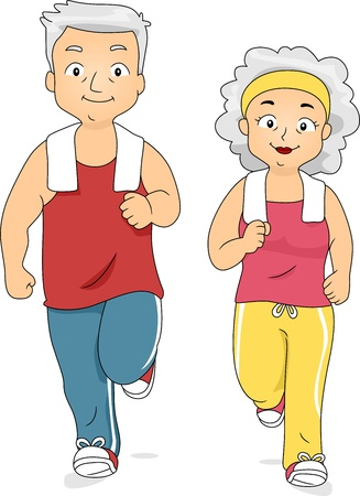 senior exercise: Illustration of an Old Couple Jogging Together Stock Photo