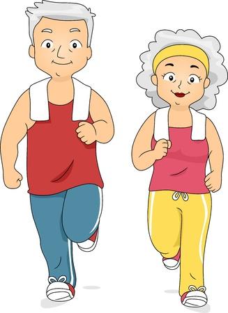 abuela: Ilustración de un Jogging pareja usadas al mismo tiempo