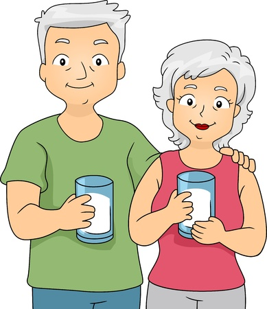 Illustration of an Old Couple Holding Glasses of Milk Stock Photo