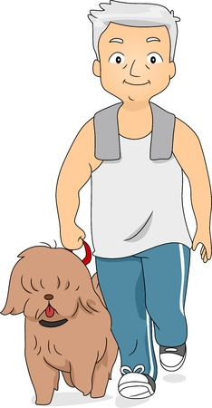 man dog: Illustration of an Old Man Taking His Dog for a Walk