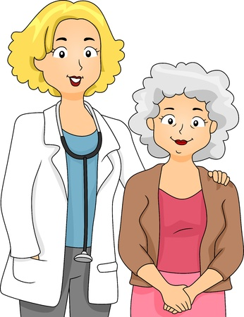 Illustration of a Doctor Standing Beside Her Patient illustration