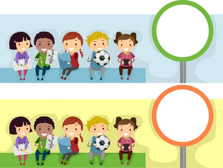 school website: Header Illustration with an Educational Theme Stock Photo