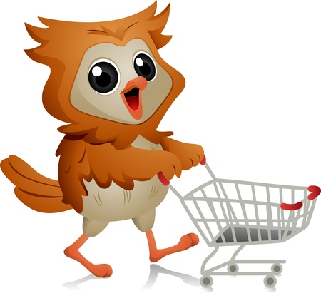 Illustration of an Owl Pushing a Shopping Cart illustration