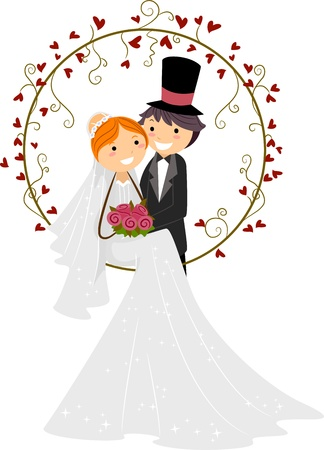 marriage cartoon: Illustration of a Bride and Groom Posing Together