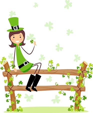 Illustration of a Girl Wearing a St. Patricks Day Costume illustration