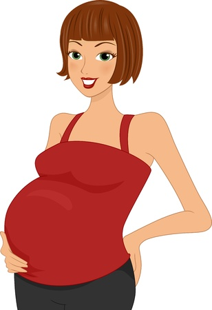 Illustration of a Pregnant Woman Holding Her Belly 版權商用圖片