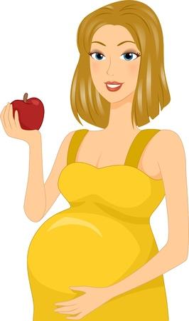 mother to be: Illustrazione di una ragazza incinta in mano una mela
