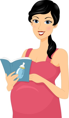 reading material: Illustration of a Pregnant Woman Reading a Baby Book Stock Photo