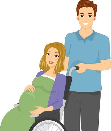 Ilustración de una mujer embarazada en una silla de ruedas Foto de archivo - 11860894