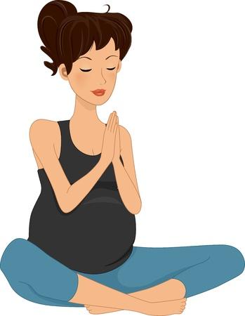 mother to be: Illustrazione di una donna incinta Fare Yoga Archivio Fotografico