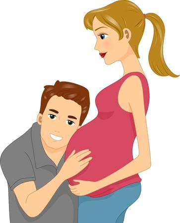 mother to be: Illustrazione di un marito ascolto pancia di sua moglie