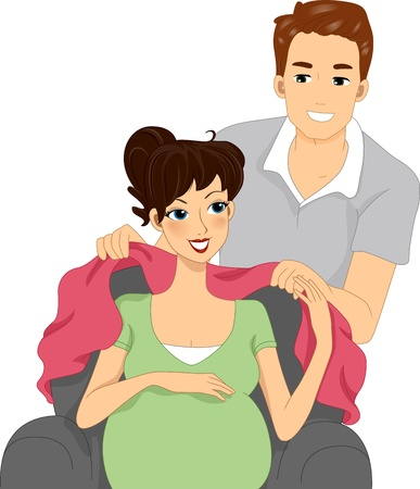 Illustration of a Husband Wrapping His Wife with a Blanket Stock Illustration - 11860911