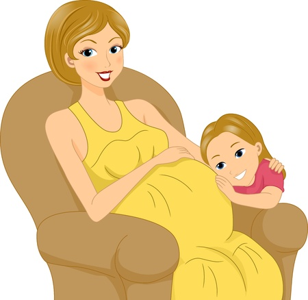 big belly: Illustration of a Girl Listening to Her Mothers Tummy