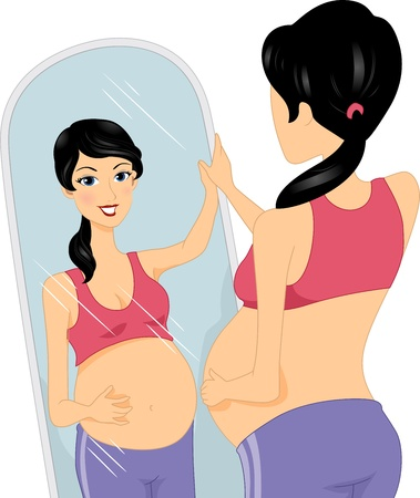 looking: Illustration of a Pregnant Woman Checking Herself in the Mirror Stock Photo