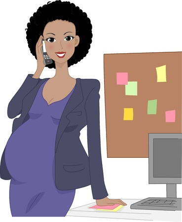 woman on phone: Illustration of a Pregnant Office Worker Talking on the Phone