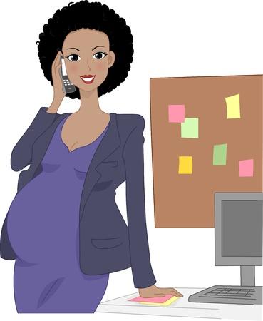 mother to be: Illustrazione di un Office Worker gravidanza parlare al telefono Archivio Fotografico