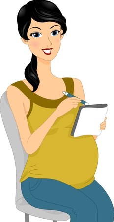 event planning: Illustration of a Pregnant Woman Doing Some Planning