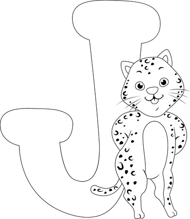Coloring Page Illustration Featuring a Jaguar Stock Illustration - 11860909