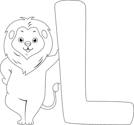 Coloring Page Illustration Featuring a Lion Stock Illustration - 11860898