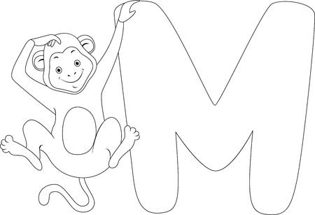 Coloring Page Illustration Featuring a Monkey Stock Illustration - 11860893