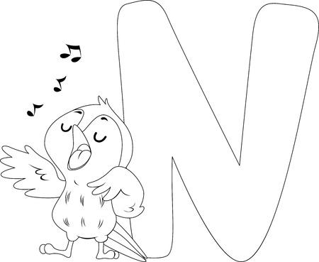 bird nightingale: Coloring Page Illustration Featuring a Nightingale Bird