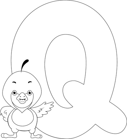 Coloring Page Illustration Featuring a Quill illustration
