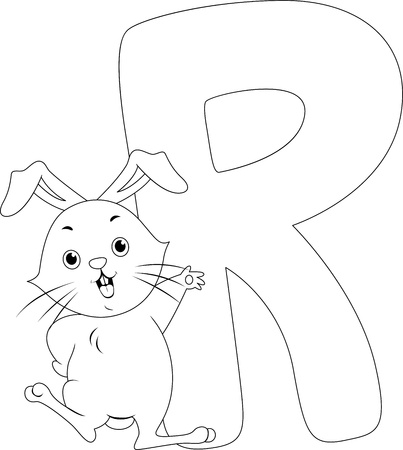 Coloring Page Illustration Featuring a Rabbit Stock Illustration - 11860907