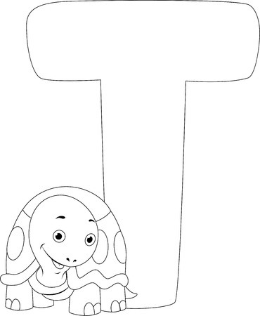 Coloring Page Illustration Featuring a Turtle Stock Illustration - 11860884
