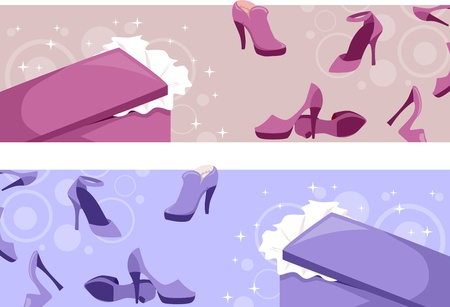 high heeled shoe: Header Illustration Featuring Shoes Stock Photo