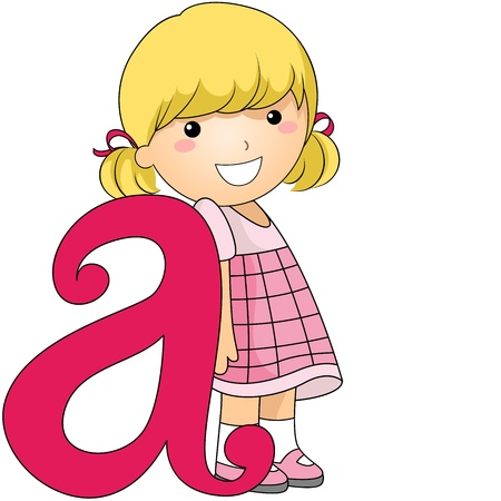 learning materials: Illustration of a Kid Leaning Against a Letter A