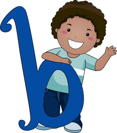 Illustration of a Kid Standing Behind a Letter B illustration