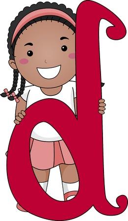 Ilustraci�n de un chico de pie detr�s de una letra D photo
