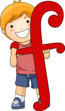 Illustration of a Kid Standing Behind a Letter F Stock Photo