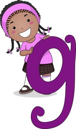 Illustration of a Kid Standing Behind a Letter G Stock Photo