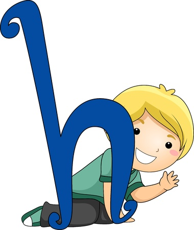 crouching: Illustration of a Kid Peeking Behind the Letter H Stock Photo