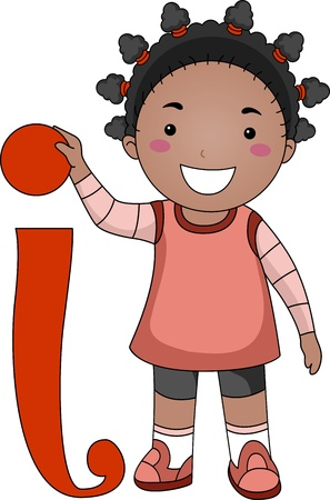 english girl: Illustration of a Kid Standing Beside a Letter I